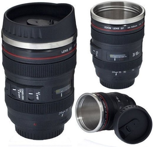 Camera lens thermos stainless steel mug the best gift for Photo lens coffee cup